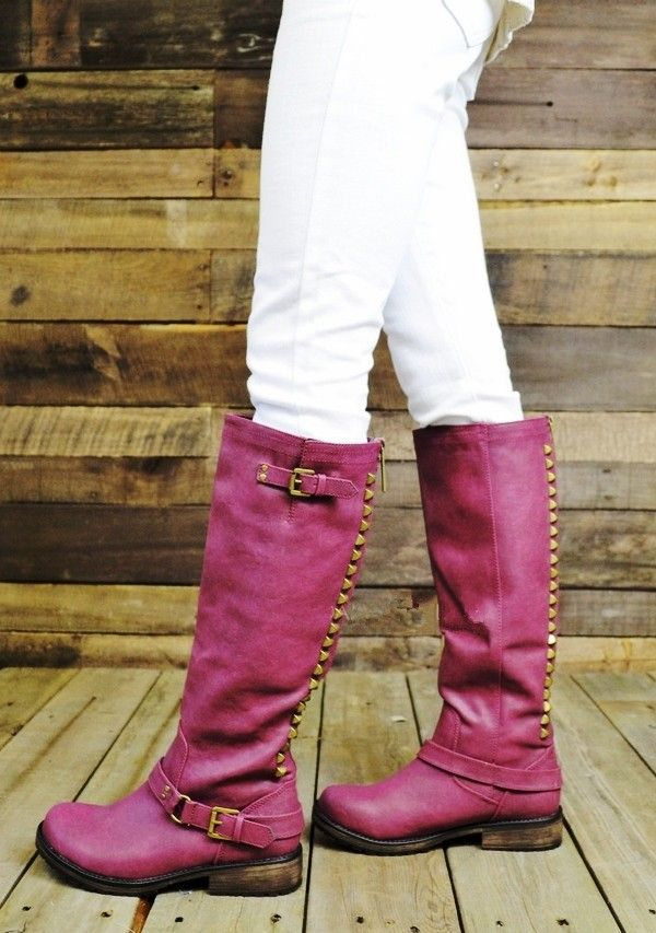Berry Studding Riding Boots, 2013 Easy Rider Berry Zipper Riding Boots
