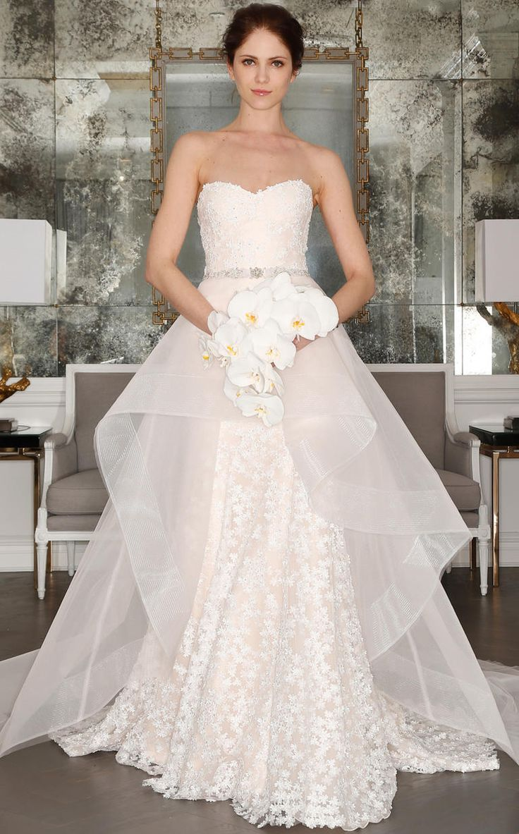 Strapless floral handkerchief skirt wedding dress from Romona Keveza's Spring 2017 collection