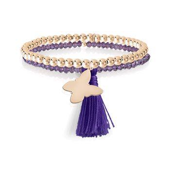 BRACELET boules double rang élastique en argent 925 rosé et cristal violet avec deux pampilles papillon et pompon. Pour poignet 17,5 cm. Gravure possible