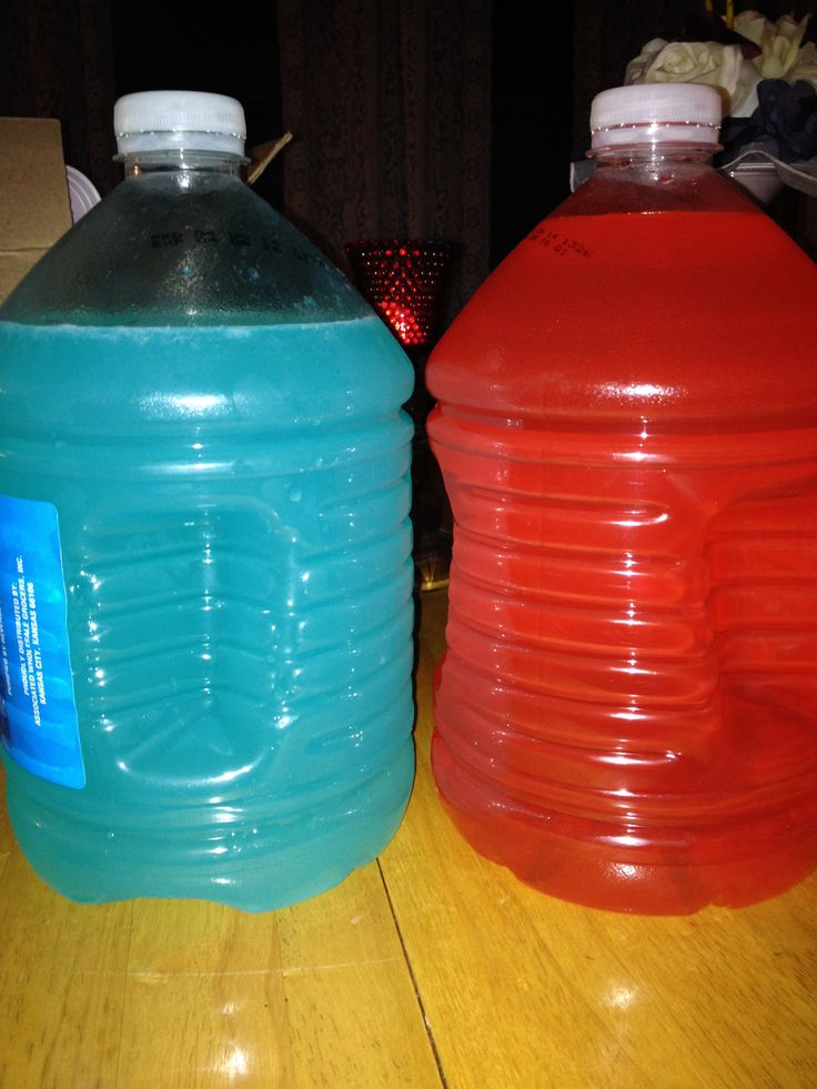 Float trip juice! Super easy!  We used 3 gallon water jugs.  Red:  Add about an inch of strawberry pucker liquor. Then about a quarter bottle of vodka, one fourth bottle of spiced rum, and fill the rest with Brisk Strawberry Melon juice.  Blue: (this one is way easier). One bottle of UV Blue and a large bottle of simply lemonade. Top it off with a table spoon of sugar. If too bitter, add more sugar :)