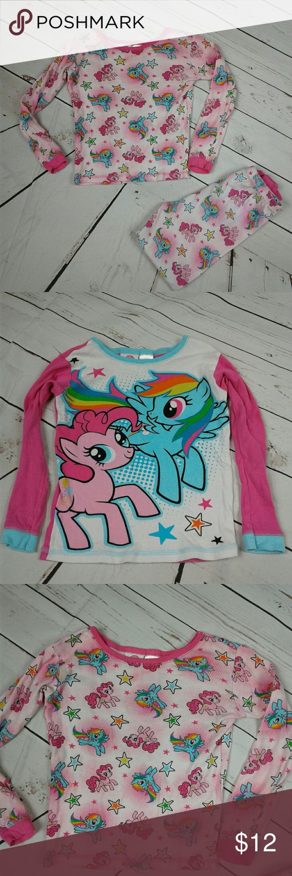 My little pony long sleeve pajama set sz 8 Cute my little pony set. Includes 2 shirts, featuring pinky pie and rainbow dash.  1 pair of pants size 8 little girls. 100 % cotton. My Little Pony Pajamas Pajama Sets