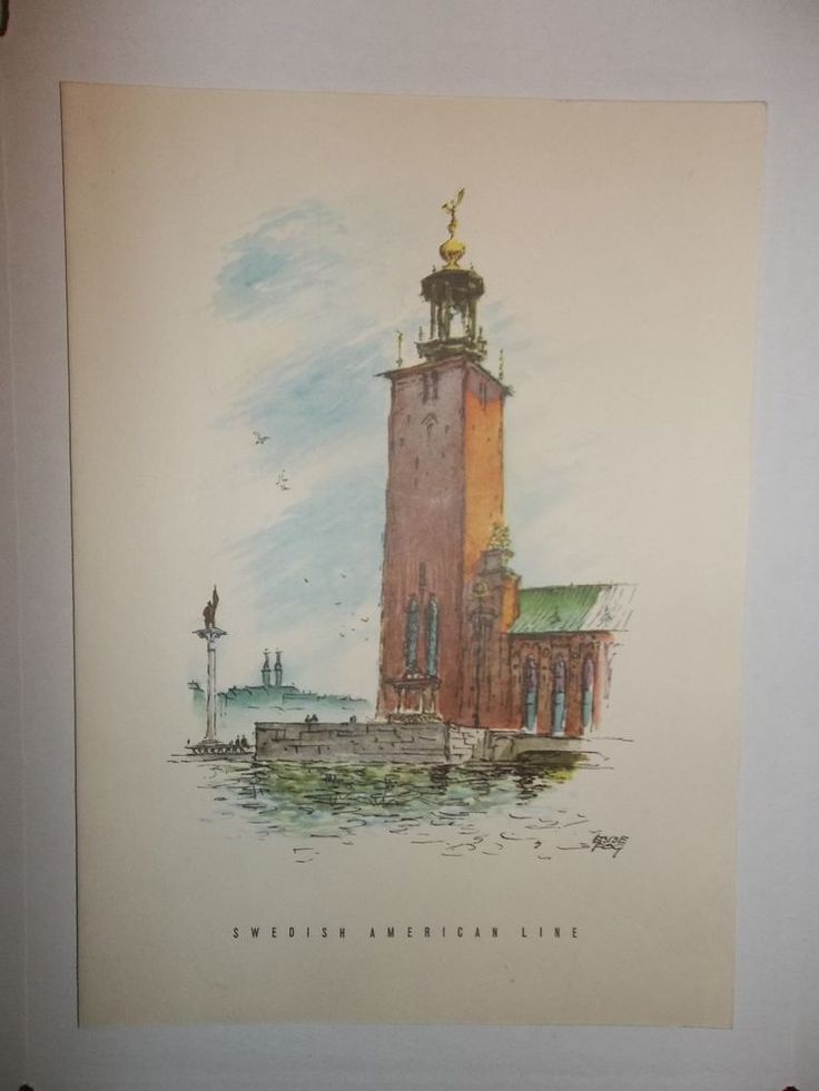 SWEDISH AMERICAN LINE Ebbe Fog City Hall Stockholm Sweden