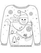 Christmas Ugly Sweater with a Snowman Motif Раскраска