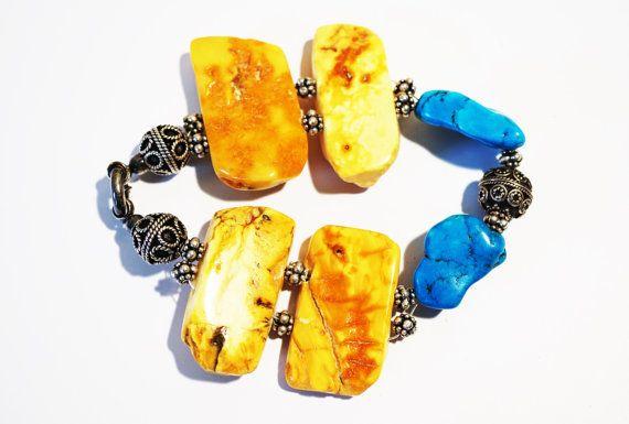 Handmade  Bracelet Turquoise Baltic Amber by HandmadeArtDesign