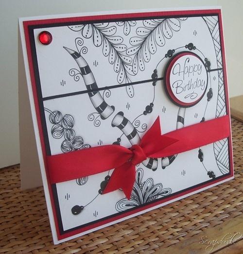 Zentangle Birthday Card Carlas Scraps 3