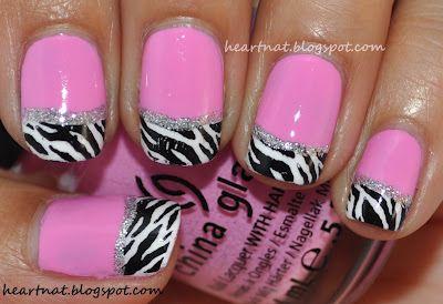 love zebra stripes!: Pink Zebra, Style, Pink Nails, Nail Designs, Zebra Tips, Zebra Nails, Beauty, Zebras