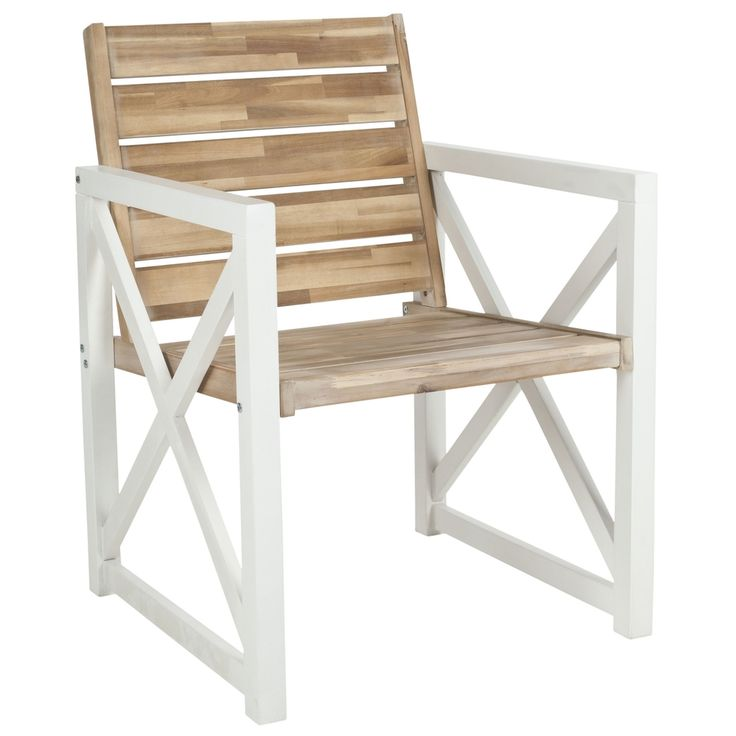 Safavieh Irina White Frame/ Oak Seat Arm Chair