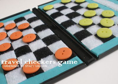 Travel checkers board (DVD case, buttons, velcro and hot glue).