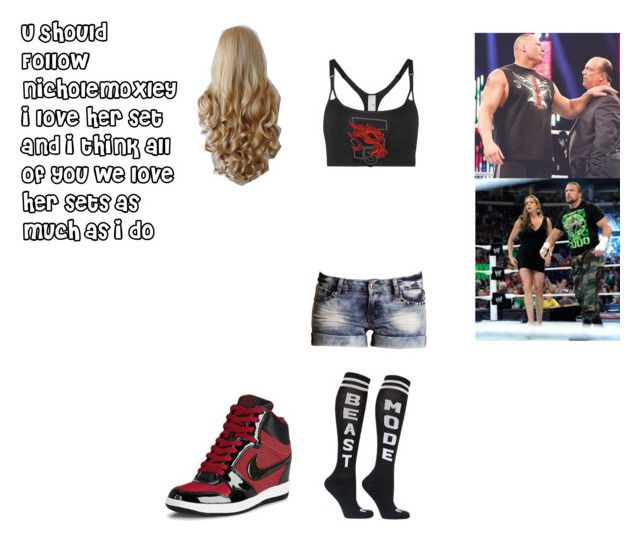 """""""Alex Gwen & Brock Lensar Vs Triple H & Stephanie McMahon"""" by reilyandydeveraux ❤ liked on Polyvore featuring adidas, Boohoo and NIKE"""
