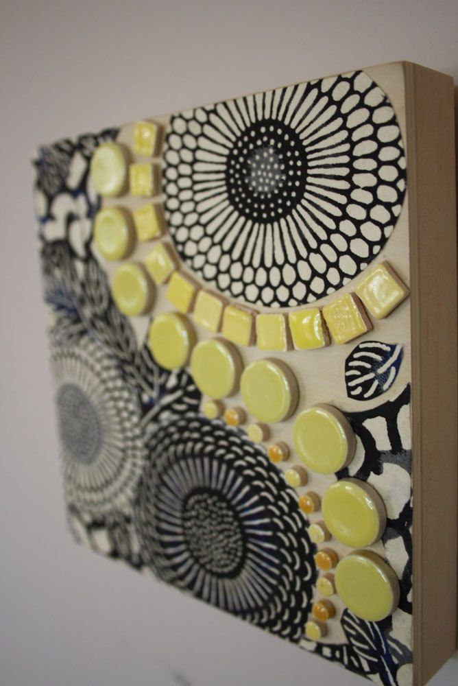 Black, White and Yellow Mixed Media Collage on timber by FickleNellie on Etsy