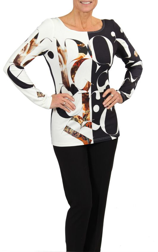Long sleeve, half black, half white letter print top- available only in stores. #fallfashion #blackandwhite #cartise