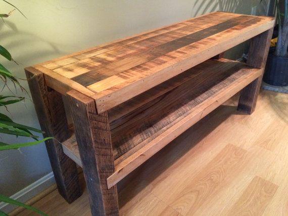 Reclaimed Wood Notched Leg Media Console / TV Stand w/ Polyurethane Finish  (54