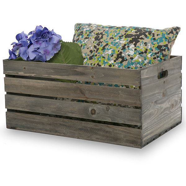 Antique Grey Wooden Storage Crate with In-Handles XL 19in ❤ liked on Polyvore featuring home, home decor, small item storage, wood home decor, wooden crates, wood crate, wood storage crate and wooden home decor