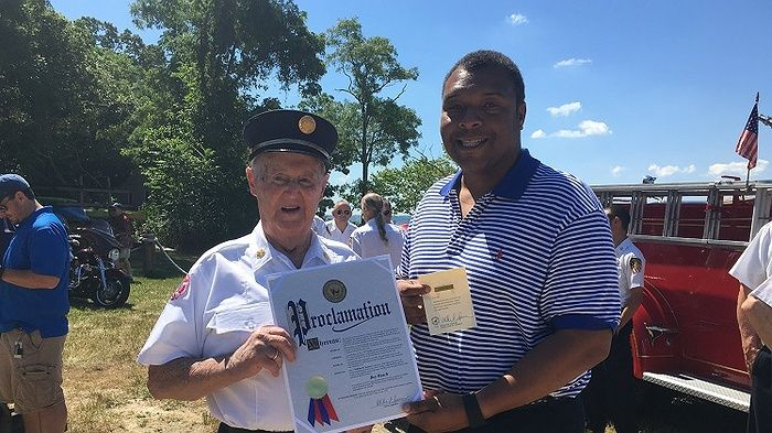 At Eaton's Neck recent Independence Day Parade, local hero Roy Beach was honored for an incredible life of service to the United States. After serving in the U.S. Navy, pushing through Normandy on D-Day, and serving again in the Korean War, he has volunteered for the Levittown Fire Department and Eaton's Neck Fire Department for a combined 63 years!