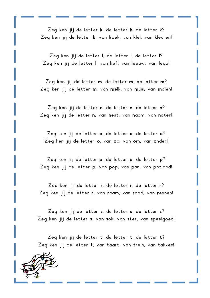 * Letterliedjes op de wijs van: Zeg ken jij de mosselman...2-3