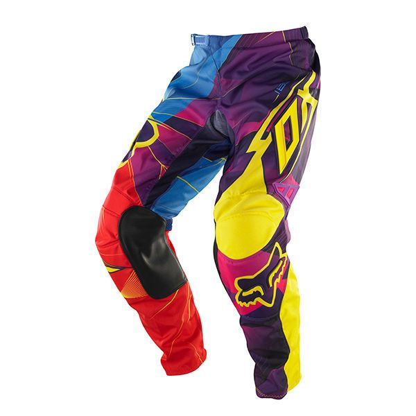 Fox Racing Youth 180 Radeon Pants. Features bold color blocking and symmetrical logo positioning that creates a perfect blend of color and style. RAP (Rider Attack Position) construction for a precise fit on the bike Durable 600D Polyester fabric Heat and abrasion resistant leather knee panels Stretch panels at knee, rear yoke and crotch. http://zocko.it/LD2qA