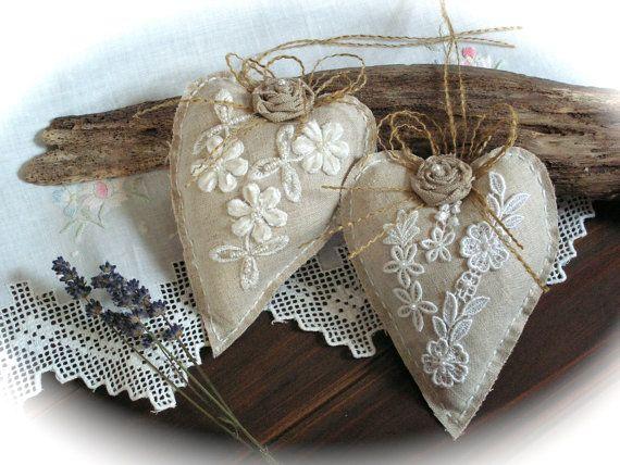 Rustici ornamenti cuore di lino pizzo decorazioni di Mydaisy2000