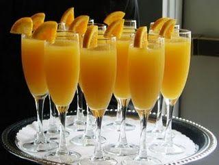 Virgin Mimosas. Equal parts orange juice & ginger ale. My kids love them.