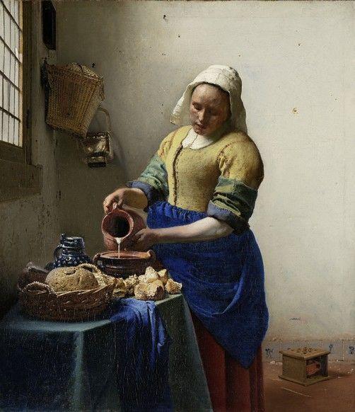 Picture: Het Melkmeisje - Johannes Vermeer. Deze kun je ook op een mdf paneel plakken. iets zwevend aan de wand, verlichting erachter, zodat je donkere hoek bij entree wat uitlicht. Alles kan op maat worden gemaakt