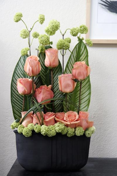 tall contemporary flower arrangement