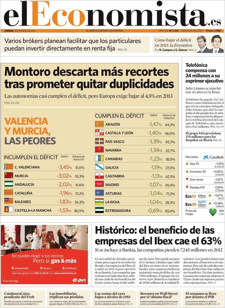 Los Titulares y Portadas de Noticias Destacadas Españolas del 1 de Marzo de 2013 del Diario El Economista ¿Que le parecio esta Portada de este Diario Español?