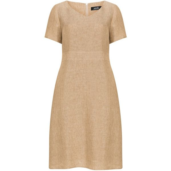 navabi Camel Plus Size Linen empire waist dress ($160) ❤ liked on Polyvore featuring dresses, camel, plus size, women's plus size dresses, plus size summer dresses, low v neck dress, plus size empire waist dress and knee length dresses