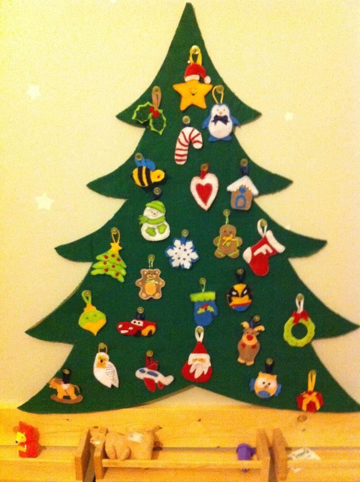 Felt advent calendar, calendario del avvento in feltro