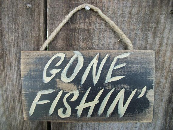 Gone fishing sign black distressed rustic primitive wood for Gone fishing sign