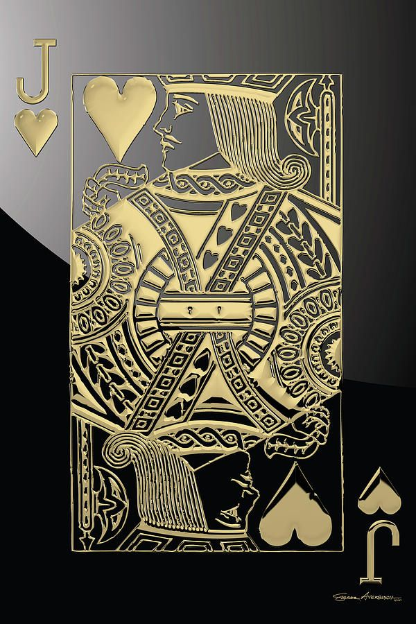 Playing Cards Digital Art Jack Of Hearts In Gold Over Black By Serge Averbukh In 2021 Playing Cards Art Art Wallpaper Iphone Crazy Wallpaper