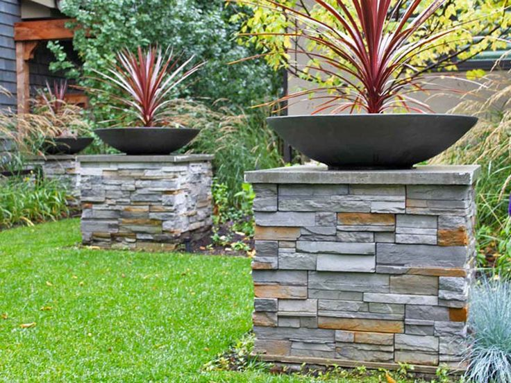 Modern Low Bowl Planters On Stone Columns Ddladesign