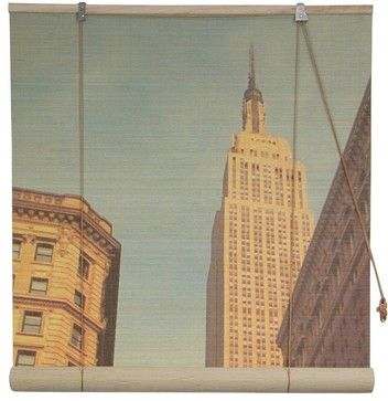 Vintage Empire State Building Bamboo Blinds in x in traditional