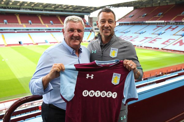 Aston Villa's new signing John Terry and manager Steve Bruce during the press conference at Villa Park on July 3, 2017 in Birmingham, England.