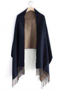 Contrast Woolen Scarf in Blue