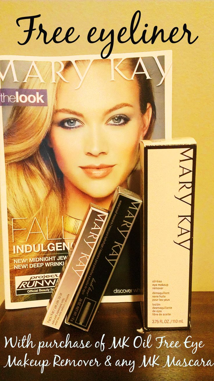Free eyeliner with the purchase of Mary Kay Oil-Free Eye Makeup Remover and any MK Mascara! Www.marykay. com/tamistrutz.  Or contact me, 682-230-1949.