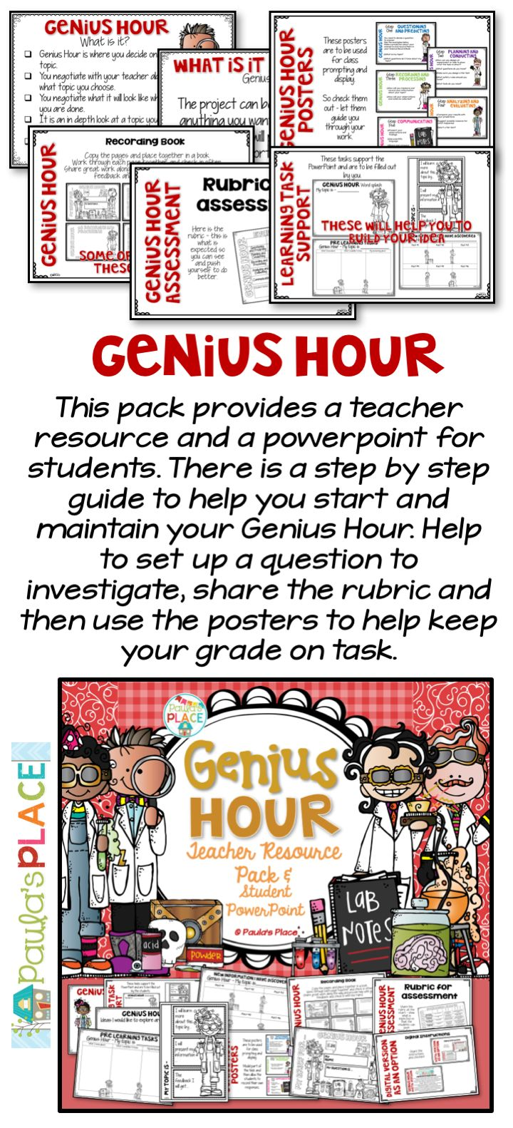 Step by step guide to setting up for a Genius Hour - complete with a Teacher Pack and Student PowerPoint.