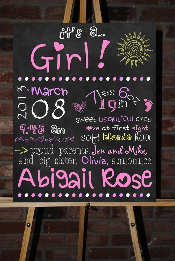 15 best images about Birth Announcement Chalkboard Poster on Pinterest
