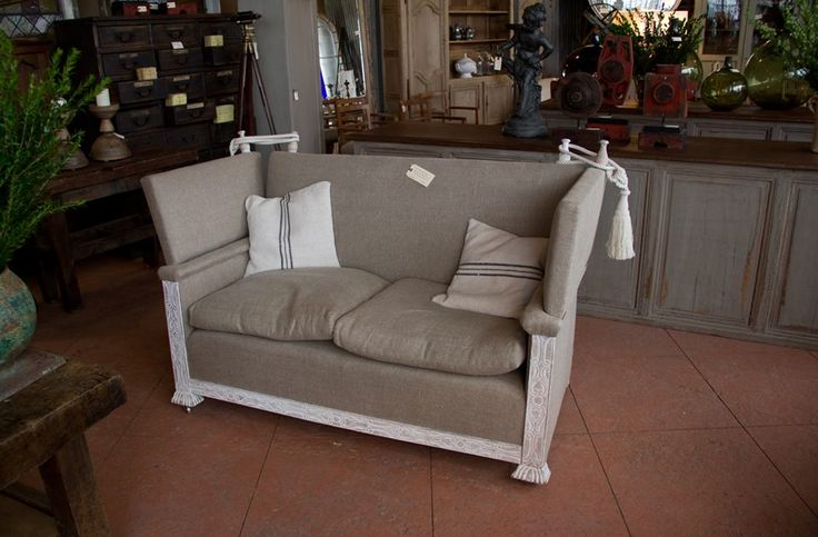 Antique Knole settee in French linen.