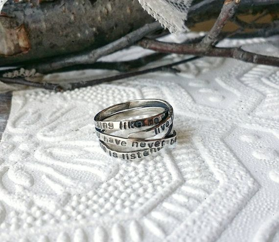 Custom mesage ring. Check out this item in my Etsy shop https://www.etsy.com/ca/listing/505808153/personalized-message-ring-message-wrap