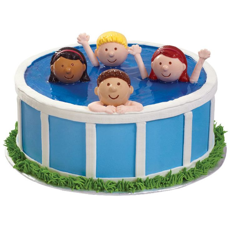 Enjoy easy summer living serving a novel swimming pool cake. This great seasonal look is quick to create with our ready-made Boy and Girl Cupcake Toppers.