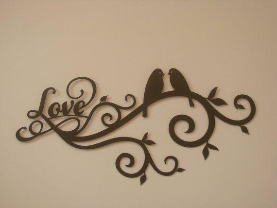 love bird scroll 16 gauge metal wall sculpture - Metal Wall Designs