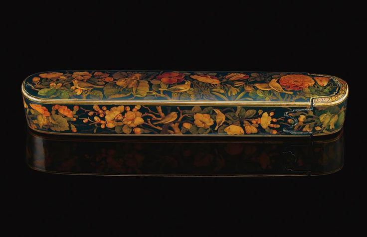A Qajar pen case 19th century,painting by Lotflai Shirazi