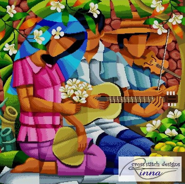 Harana-Song of Violin and Guitar- a Filipino Art in Cross Stitch-Pattern in PDF