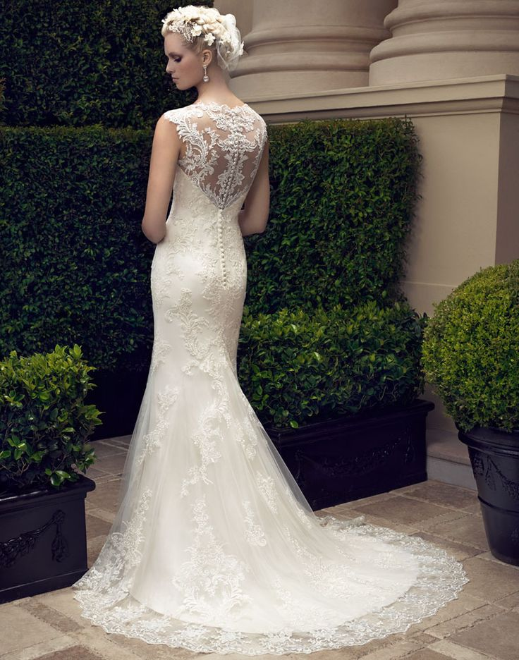 Exquisite Fit Flared Illusion Neck Sleeveless Sweep/Brush Train Lace overlay Tulle Wedding Dress
