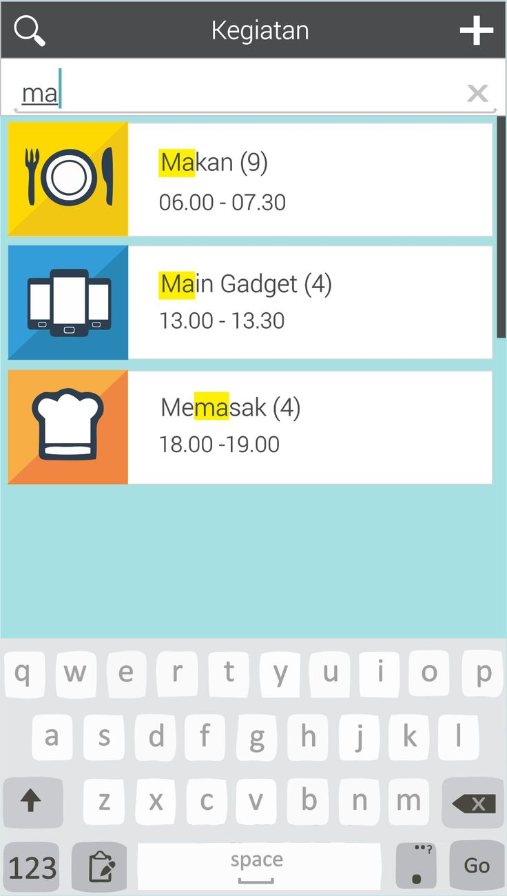 Aplikasi Scheduling Time. Menu search