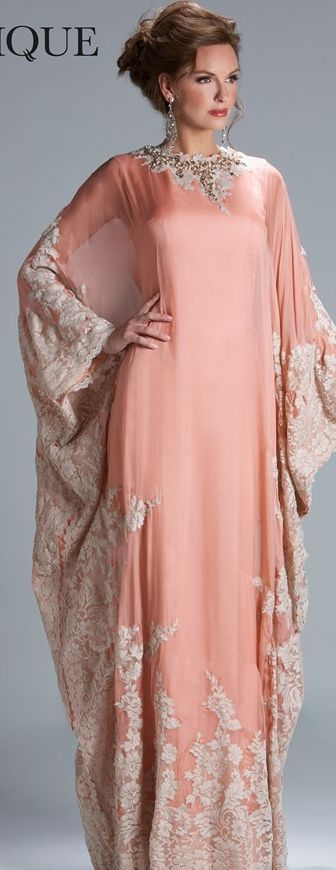 Janique Couture #long #dress #blush  I SO WANT TO WEAR THIS AS MY NIKAH OUTFIT!!! ..Insha Allah :) | robes magnifique | Pinterest | Abayas, Kaftan and Couture
