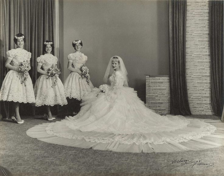 """Chic Vintage Bride – Vinka Lucas, New Zealand based designer.  She designed her own wedding gown in the 1960s:  500 meters of hand-pleated tulle and Chantilly lace.  Her gown was so heavy, it required curtain wire as support.   She laughingly described her gown as """"the greatest monster I ever created""""."""