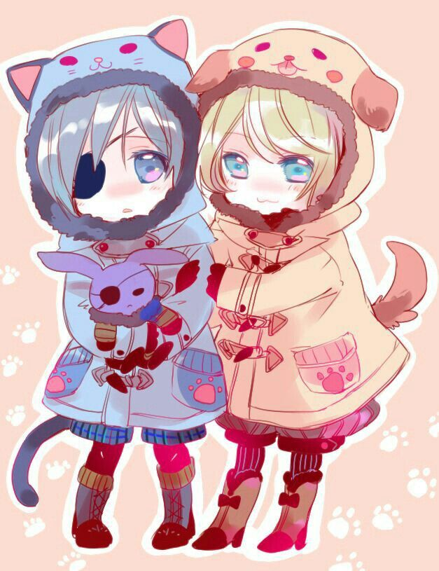 Ciel, Alois, cute, chibi, cat jacket, suit, outfit, dog jacket, bunny stuffed toy; Black Butler