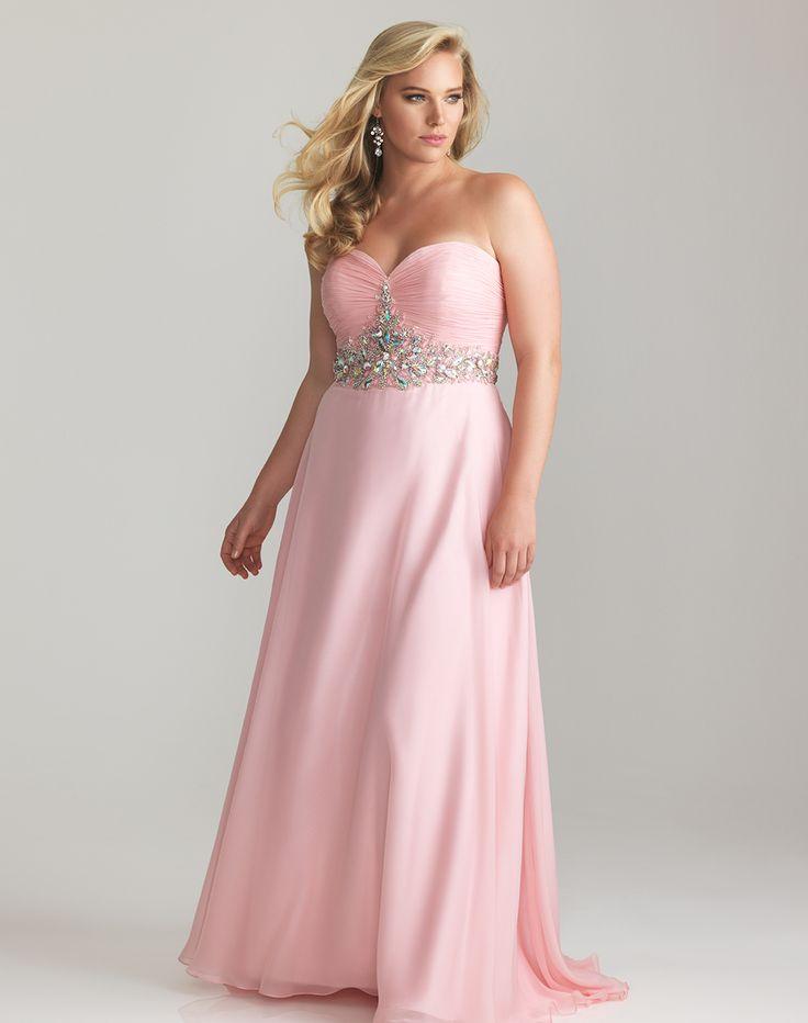 pink+dresses+for+women | Pink Chiffon Strapless Rhinestone Empire Waist Plus Size Prom Dress ...