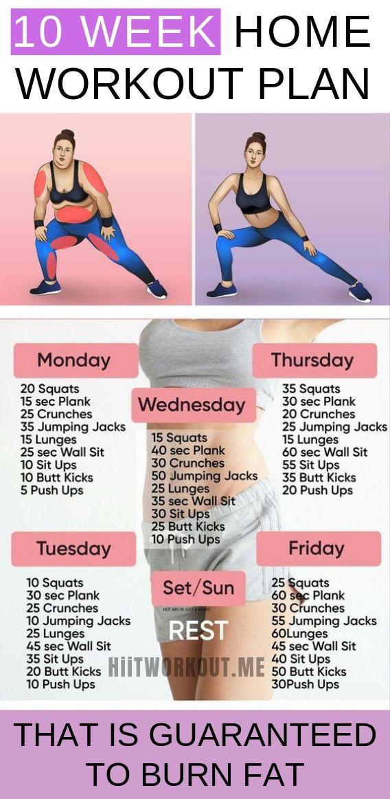 10 Week No-gym Home Workout Plan That is Guaranteed To Burn Fat 🍑💪 #Gymshark #Gym #Fitness #Exercise #Tryathome #athomeworkout #Sweat #Cardio #workoutplan #AbExercises #Abs