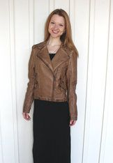 Brown Leather Moto Jacket Hey good lookin'! Toss this faux leather moto jacket on with your outfit to add warmth, and to look very...very cool!  White Barn Boutique
